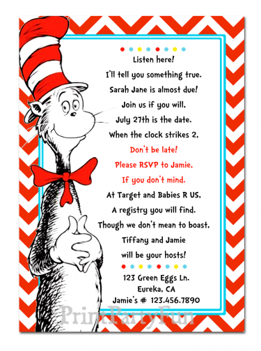 Cat in the Hat Baby Shower Invitation Template