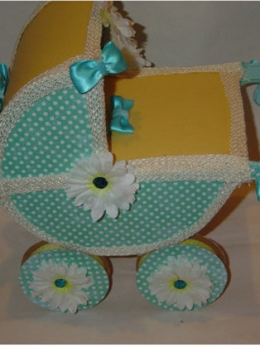 New baby carriage baby shower centerpiece keepsake for Baby carriage decoration