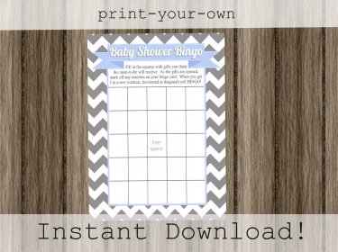 Bingo game cards for baby boy shower gray chevron and ...