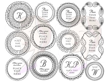 Doodle Round and Rectangle Frames Borders Clip Art ...
