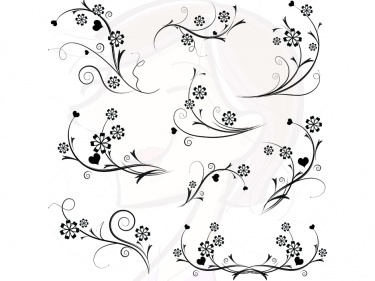 Digital Black Flowers Swirls And Flourishes Decorations