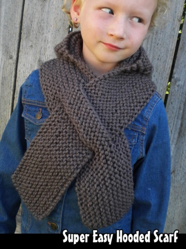 Super Easy Hooded Scarf Knitting Pattern Meylah