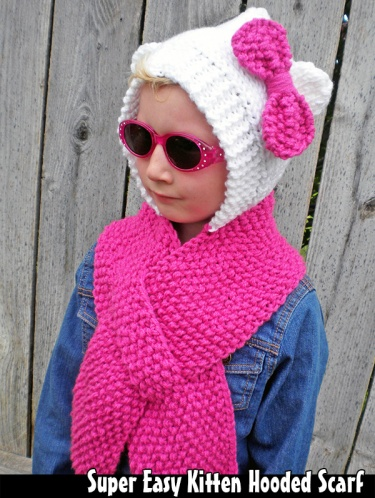 Easy Hooded Scarf Knitting Pattern : Super Easy Kitten Hooded Scarf Knitting Pattern Meylah