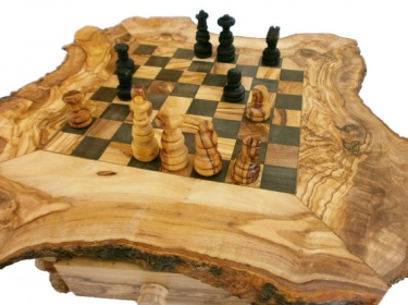 Olive Wood Rustic Unique Chess Board Set 14 Inches