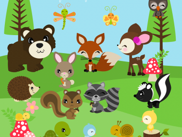 Woodland Animal Friends Digital Clipart, clip art collection | Meylah