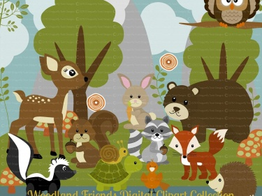woodland animal friends series 1 digital clipart