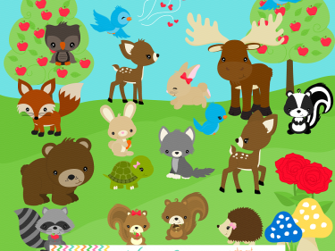 Woodland Animals Clip Art Woodland animal friends series