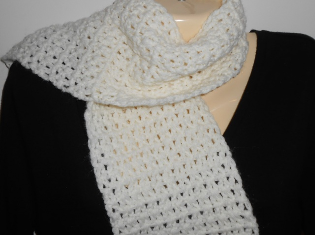 Off White Crocheted Scarf With Fringewinter Accessoriesgift For