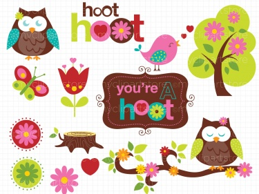Clipart - Owls In Spring | Meylah