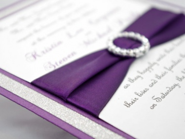 Stunning Purple & Silver Glitter Wedding Invitation Full of Bling ...