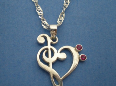 Treble Amp Bass Clef Heart Necklace Sterling Silver