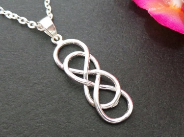 Double Infinity Knot Silver Necklace Celtic Infinity X