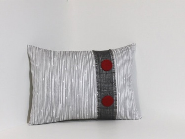 Pillow Cover Set Grey Charcoal Red Buttons Amp Burlap