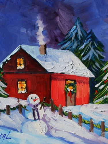 Oil Painting Original Scenic Art On Panel Red House