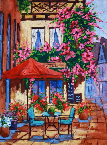 The Cafe Scenic Original Oil Painting Fine Art Landscape