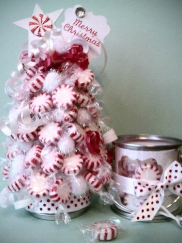 Red and white christmas candy peppermint centerpiece gift