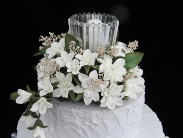 White Cold Porcelain Floral Wedding Cake Topper Meylah