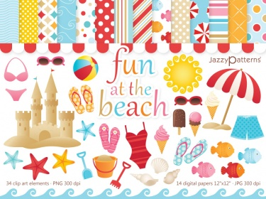 Fun At The Beach clip art and digital papers kit | Meylah