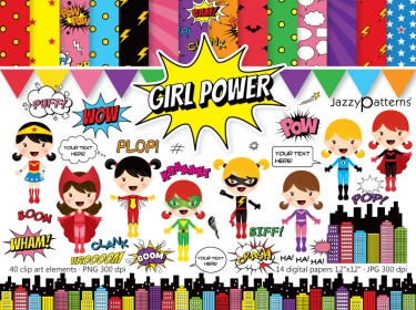 girl power superhero clipart and digital paper pack meylah girl power superhero clipart and digital paper pack