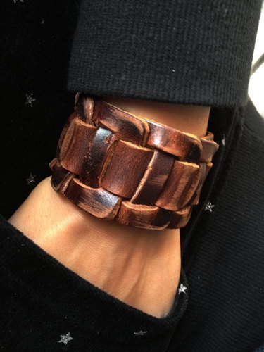 Antique Men S Brown Leather Cuff Bracelet Wrist Band Wristband Handcrafted Jewelry