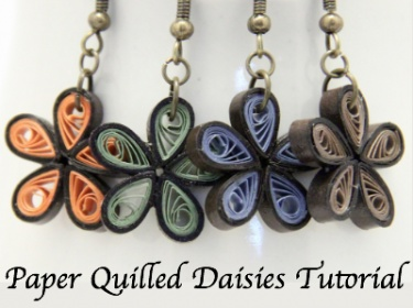FREE PDF Tutorial for Paper Quilled Daisy Flower Earrings ...