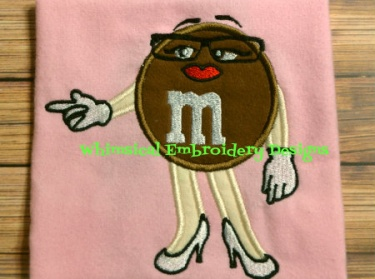 M&M Brown Candy Applique Machine Embroidery Design INSTANT DOWNLOAD ...