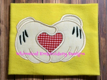 Angel wings with heart machine applique embroidery design kc