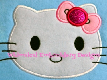 Hello kitty face with bow applique machine embroidery design