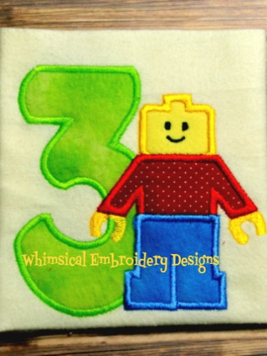 Lego Man with Numbers Applique Machine Embroidery Designs INSTANT ...