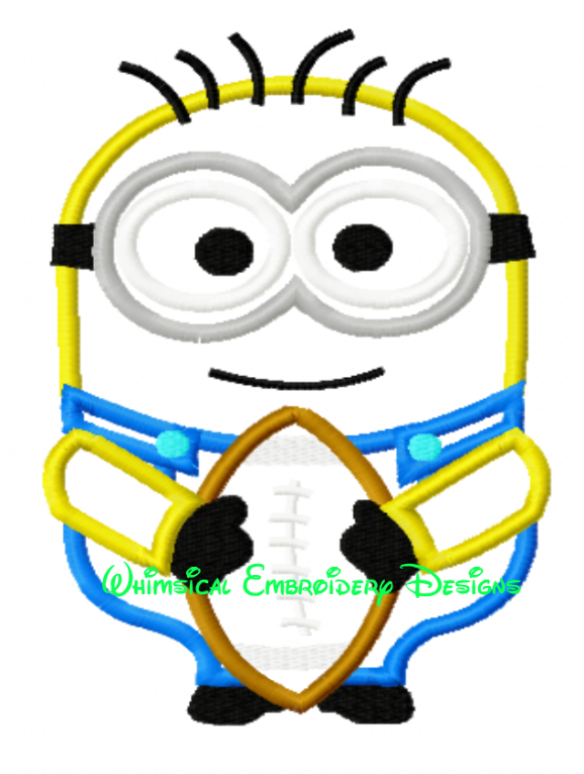Minion With Football Machine Embroidery Applique Design Instant
