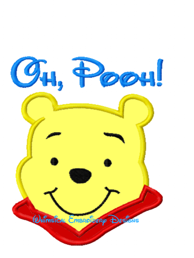 Oh Pooh Winnie The Pooh Machine Embroidery Applique Design Instant