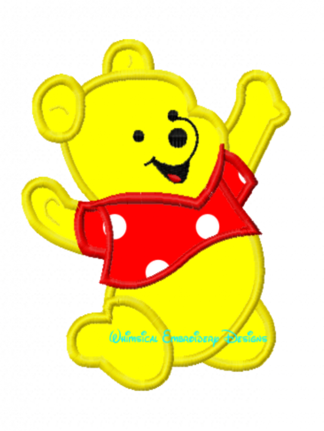 Winnie The Pooh On Knees Machine Embroidery Applique Design Instant