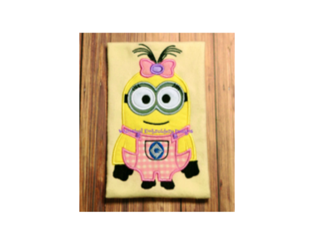 Minion girl with bow machine embroidery applique design instant