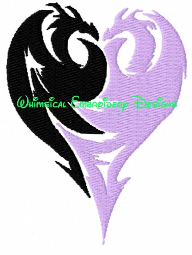 Descendants Dragons Mals Icon Machine Embroidery Filled Design