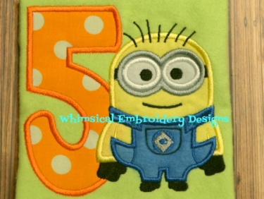Applique minions with numbers 1 9 applique machine embroidery