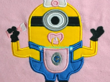 Minion with pacifier applique machine embroidery design instant
