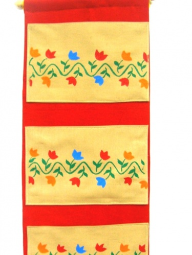 ethnic indian handmade hand painted fabric wall hanging pocket organizer wall decor tapestry letter holder