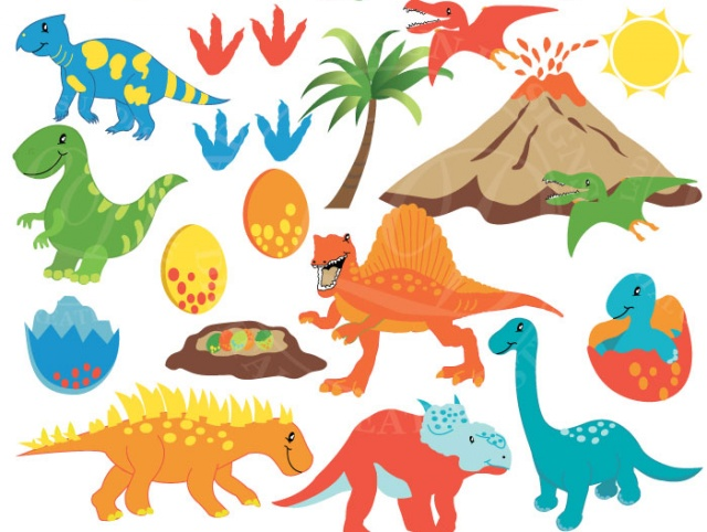 Dinosaur Clipart Vector Graphics Prehistoric Clipart Baby Dinosaur Trex Clipart Cute Animal Dino Party Commercial Personal Use Meylah