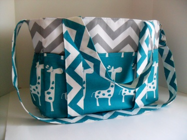 Extra Large Chevron Diaper Bag Made Of Grey And White With Turquoise Giraffe Fabric Elastic Pockets