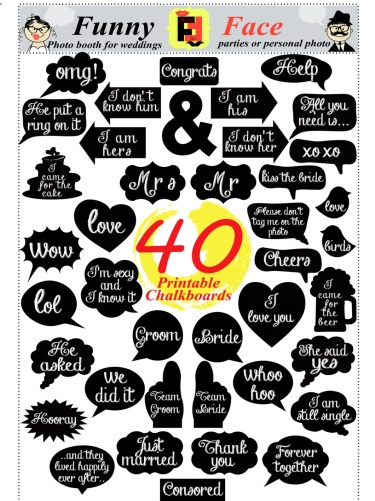 40 diy pdf printable chalkboard signs in 2 size speech bubbles and photo booth props for