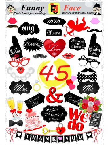 photo about Free Printable Wedding Photo Booth Props named 45 props Do it yourself wedding ceremony, engagement, decoration celebration photograph booth props (pdf, down load, electronic, printable, immediate down load ) Meylah
