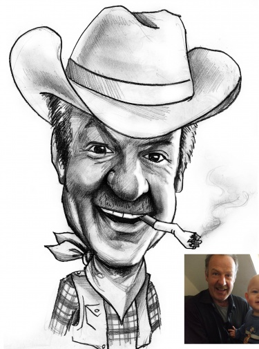 Hand Drawn Black & White Caricature - Personalised Gift - Caricature From Your Photo's - Digitally Delivered
