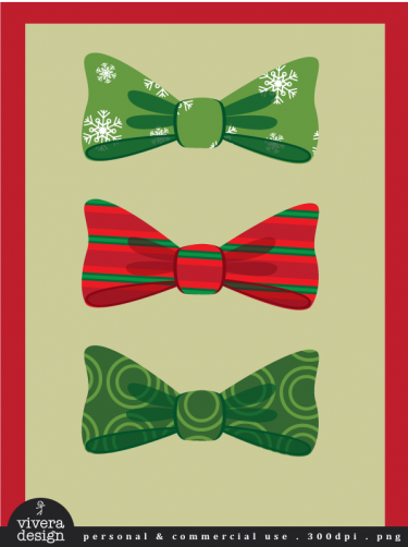 Digital Clip Art - Christmas Bows - 20 Bows with Christmas ...