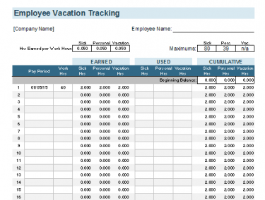 time off tracking template