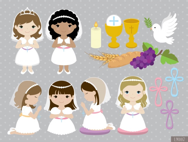 girl first communion digital clipart and papers meylah rh meylah com first communion clipart images first communion clipart girl
