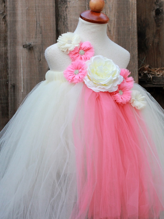 Ivory Coral Flower Girl Dress - Ivory Coral wedding - Coral Ivory ...
