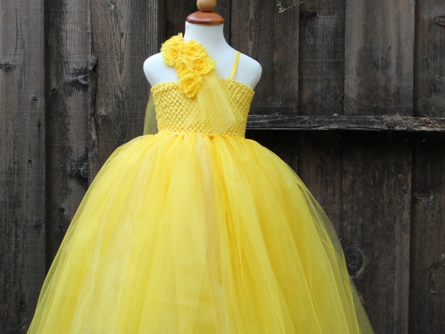 22a66b82f57 Belle Princess Costume - Yellow Flower girl Dress - yellow wedding - Beauty  and the beast - little miss sunshine - yellow party