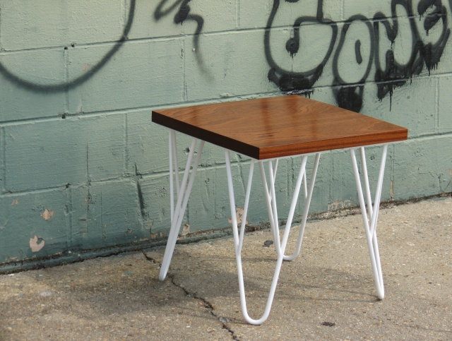 Contemporary Wood And Metal End Table   Solid Hardwood Sapele Top With  White Steel Powder Coated Legs   Modern Unique Hairpin Legs