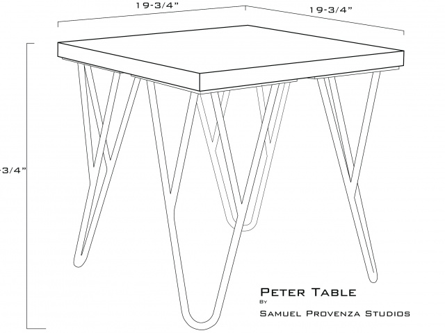 Contemporary Wood and Metal End Table - Solid Hardwood
