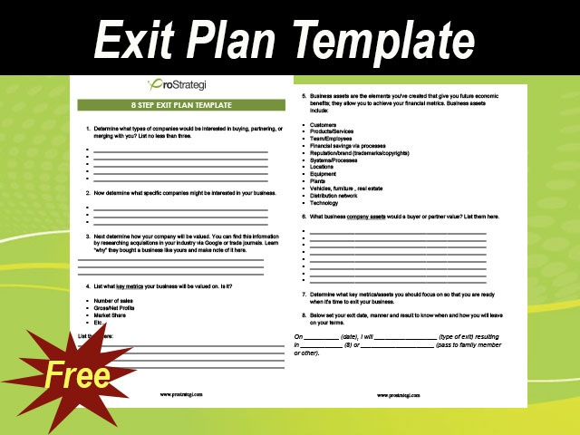 Exit Plan Template For Business Meylah